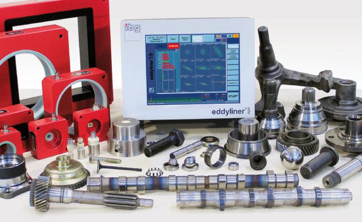 Equipo Eddyliner S con accesorios de IBG con ejemplos de piezas inspeccionadas.